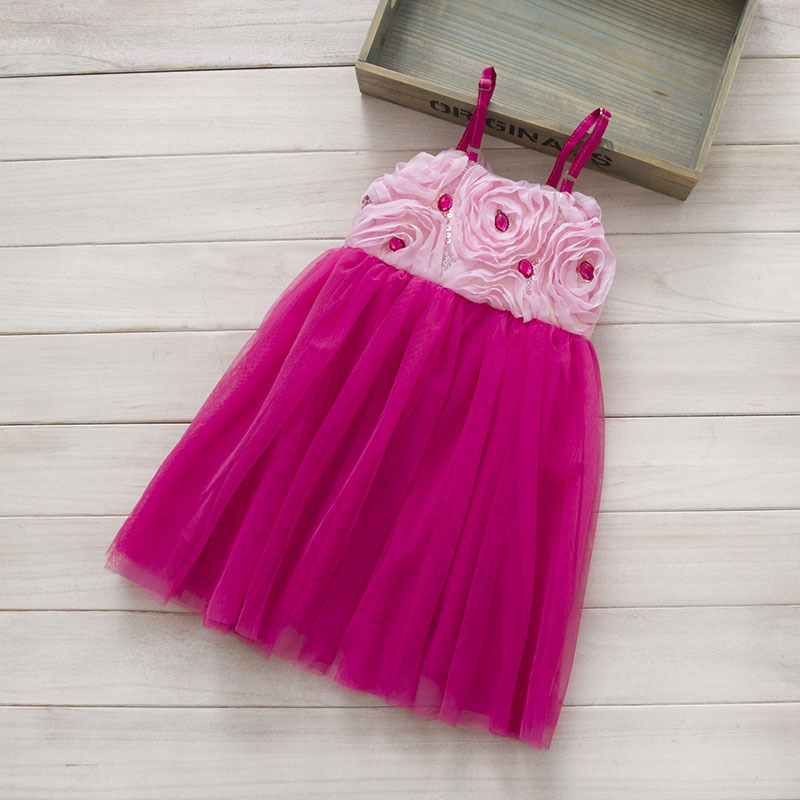 2015 NEW Kids Girls Tulle Lace Dresses Baby girl 3D flower princess dress diamonds tulle tutu Dress baby summer style clothing - Miss2010 store