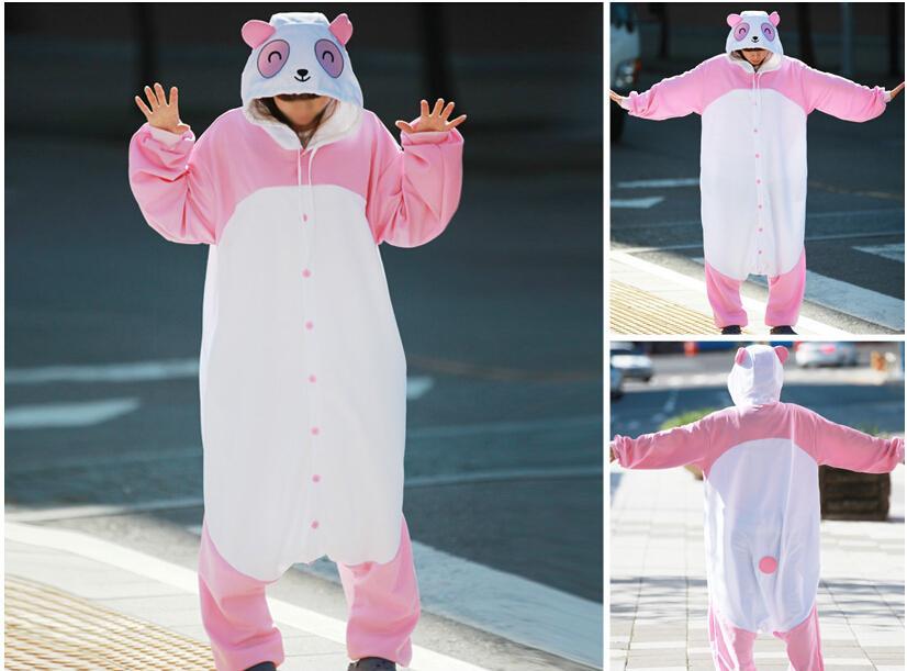 New Panda Design Onesies Pink Panda Woman Cartoon Costumes Cheap Halloween Costumes Mans Fancy Cosplay Onesies(China (Mainland))