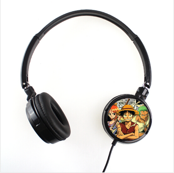 2015 New One Piece Cartoon Style headband earphone 3.5mm Plug Fashion mp3 mp4 earphones FREE SHIPPING YJT-005(China (Mainland))