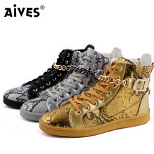 Aives Fashion Brand Men Street Dance Shoes High Top Metal Chain Zipper Design Luxury Flat Shoes Casual Shoes Ankle Boots Male(China (Mainland))