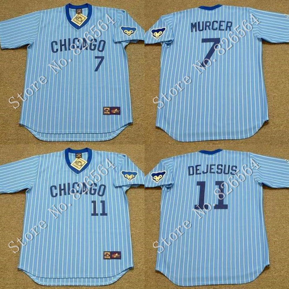 Whosale Chicago Cubs 7 BOBBY MURCER 11 IVAN DEJESUS jersey Blue Throwback 1978 Home Baseball Jersey Stitched size S-4XL cheap<br><br>Aliexpress