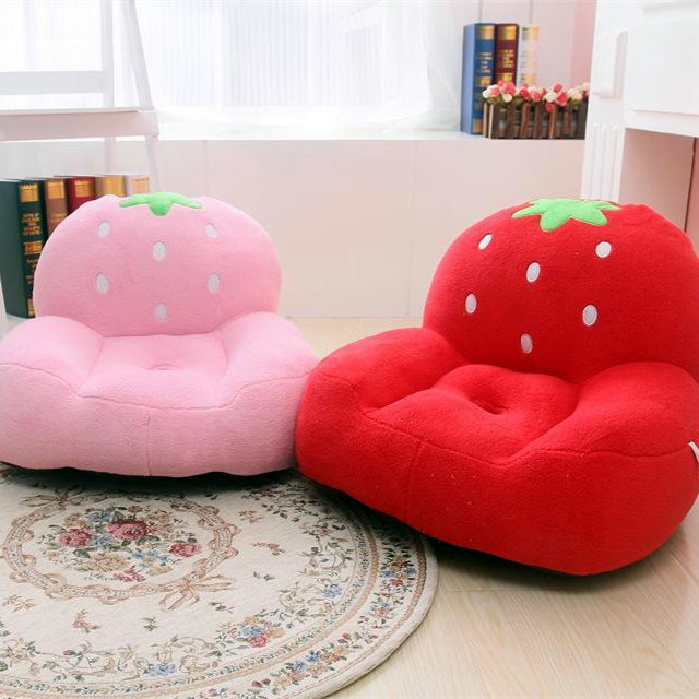Mdh cartoon cute plush strawberry small sofa stool lazy for Small stuffed chairs