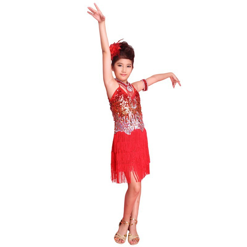 SymbolLife Girls Latin Dance Dress Children Kids Sequin Fringe Stage Performance Competition Ballroom Dance Costume Girls Latin Salsa Tango Tassel Dance Dress