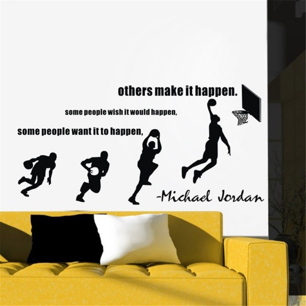 Basketball Dunk Sport Vinyl Wall Decal Stride Lay-UP Sports Quotes Basketball Mural Art Wall Sticker Boys Bedroom Home Decor(China (Mainland))