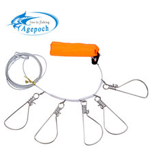 Promotion! Hot Sale 5 Snap Stainless Steel Ropes Float Fishing Stringer Fishing Lock(China (Mainland))