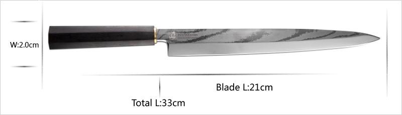 "Buy New Yanagiba 8.25"" Sashimi Slicing Knife Sushi VG10 Japanese Damascus Steel ebony Handle Very Sharp Kitchen Chef Accessories cheap"