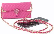 Luxury Rhinestone diamond chain Pu leather Case for For Iphone 6 4.7 inch Fashion woman handbag Phone bag Cover with string
