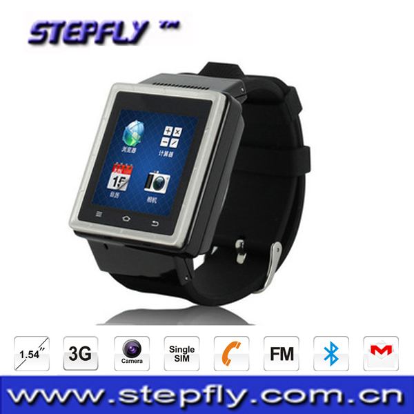 Stepfly1.54 inch capacitive touch screen Single SIM android Smart Watch 3G WCDMA Android Watch Phone with Camera (S6)(China (Mainland))