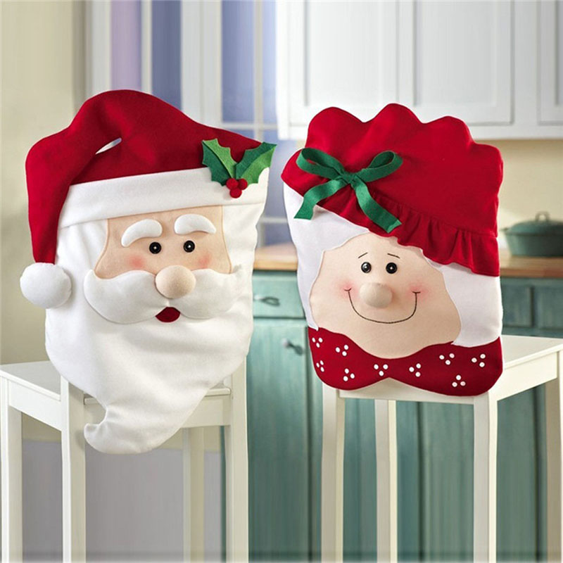 Hot Sale Christmas decoration chair covers compounds christmas santa claus grandmother dining chair set decoration V118(China (Mainland))