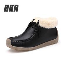 HKR 2016 mujeres del invierno de La Motocicleta del tobillo patea los zapatos de las mujeres cortas botas de nieve de las mujeres de piel caliente botas de cuero genuino botas de goma 6013(China (Mainland))