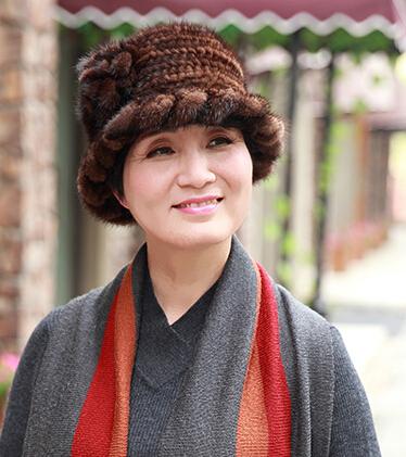 2015 New Knitted Genuine Mink Fur Hat Fashion Women Flower Cap Skullies Winter Warm Headgear 50% - Zhejiang Eastern CO.LTD store