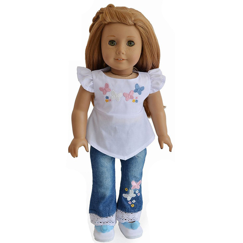 """Embroider Flower Tops+Jeans Doll Clothes For 18"""" American Girl Doll Handmade(China (Mainland))"""