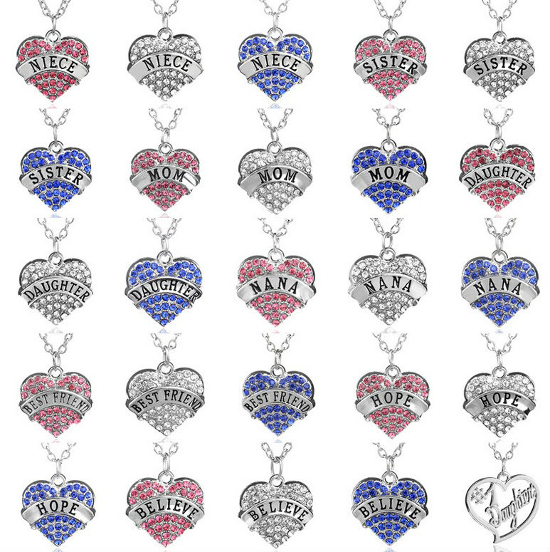 """Trendy Love """"Mom"""" Full Pink Crystal Heart Pendant Necklace Mother's Day Gifts for mother Sweater Chain Necklaces Best Gifts(China (Mainland))"""