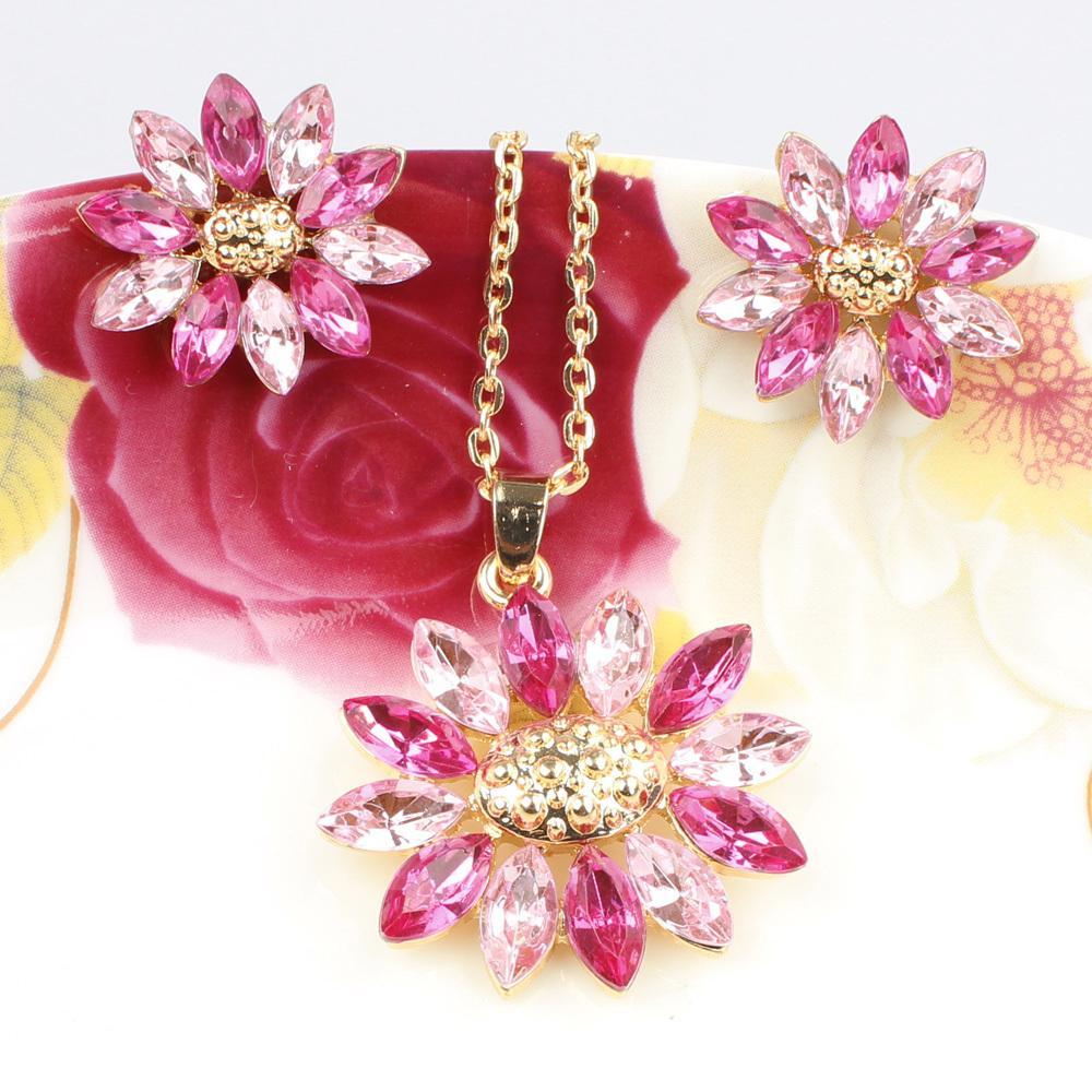 Best Seller Big Flower Pendant Wedding Set 18K Gold Plated Austrian