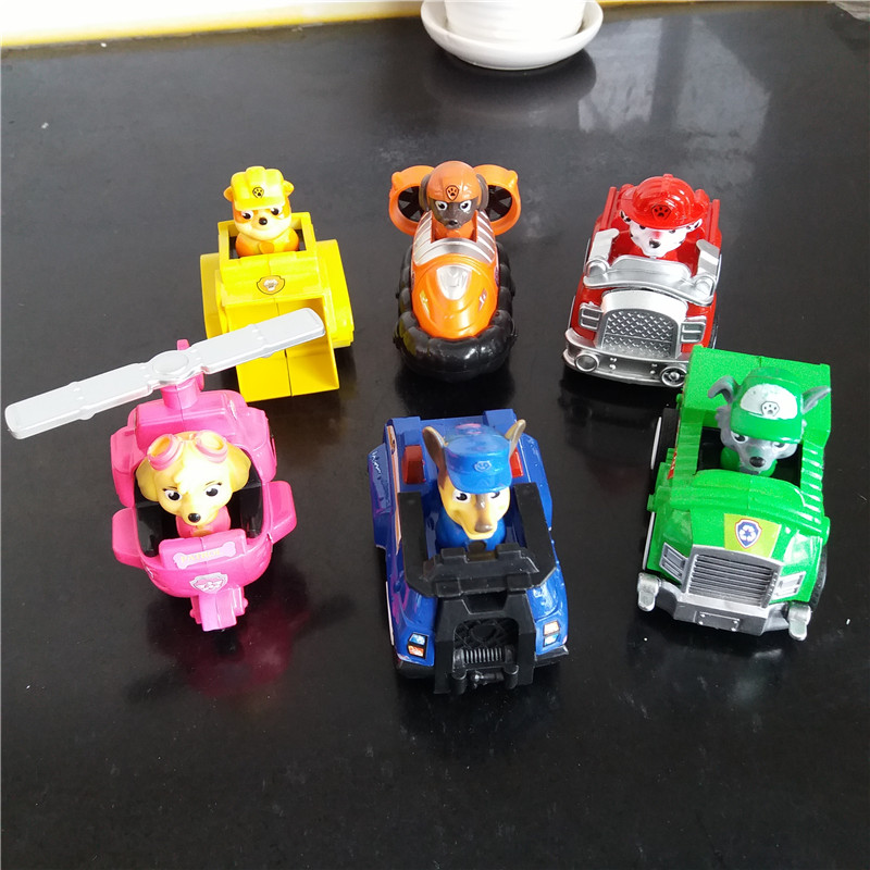 6PCS/set Lovely Patrol Dog Set Cartoon cute dog back to toy car manufacturers selling Popular Action Figure for children's gift(China (Mainland))