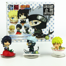 3pcs/set 5cm Cute Edition Sasuke Naruto Kakashi Action Figure With Base Japan Anime Collections Gifts Toys With Nice Package #F