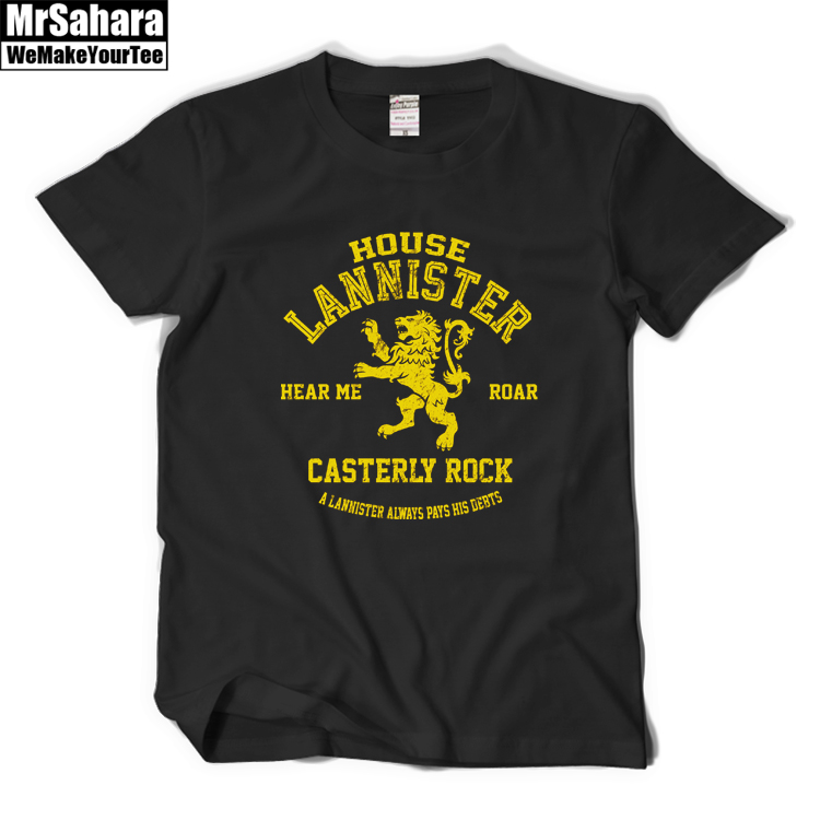 House Lannister Casterly Rock fashion trend T-shirts basic Tee short sleeve DIY O-neck big yard cotton plain boy solid Tshirt(China (Mainland))