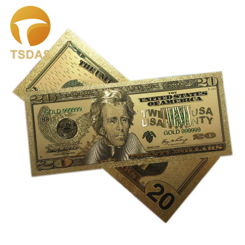 Покрытые настоящим золотом Банкноты набор USD 100/50/20/10/5 коллекции. 999 чистый Билл 24 20-1