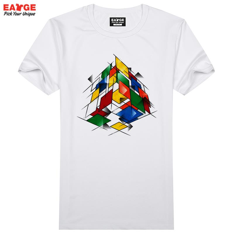 Abstract Glasses Transparent Cube Sides T Shirt Design T-shirt Cool Novelty Funny Tshirt Style Men Women Printed Fashion Top Tee(China (Mainland))