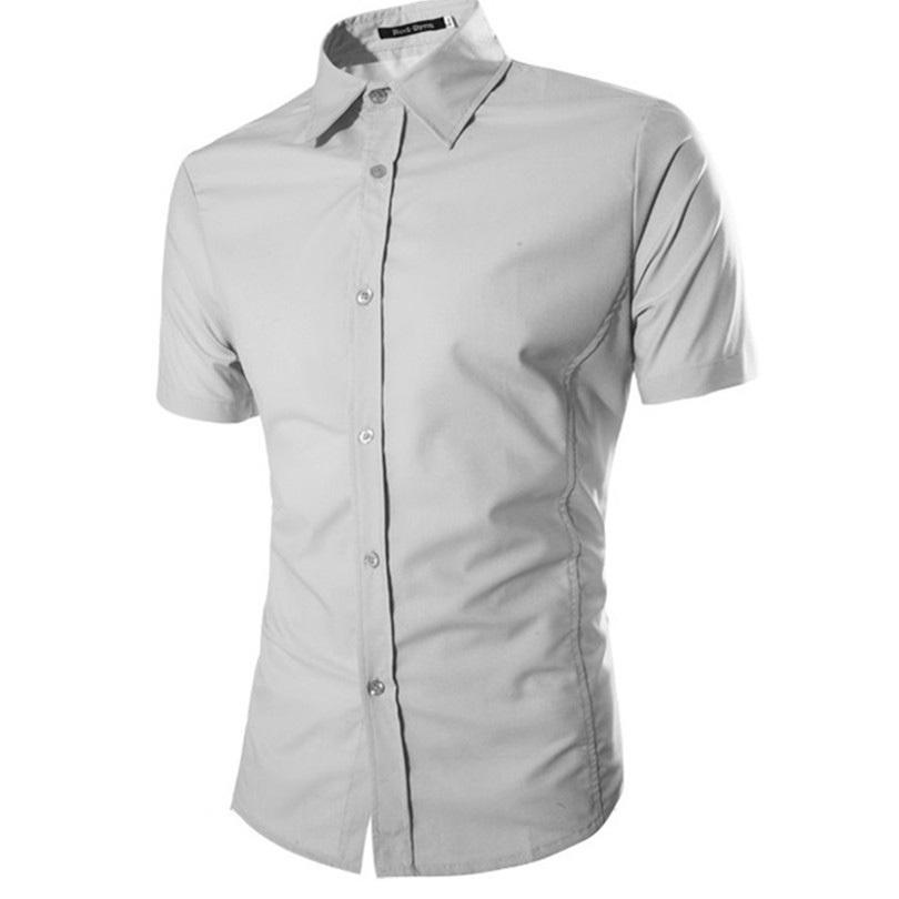 2015 New Summer Men Clothes Shirts Short Sleeve Lapel Shirts Male Dress Shirt Business Slim Fit