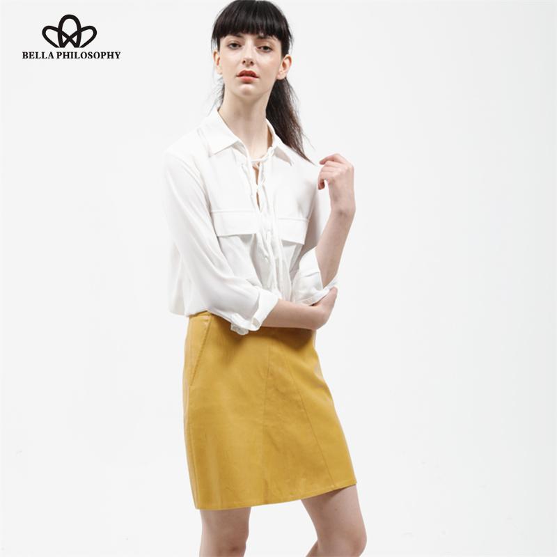 2016 automne hiver nouvelle taille haute PU faux cuir femmes jupe rose jaune noir retour zipper réel photo us. taille(China (Mainland))