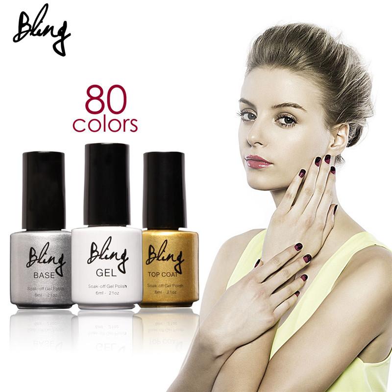 FOCALLURE Bling 80 Colors Gel Polish Colorful Nail Gel 6ML UV GEL Soak off UV Colors Gel Nail Polish Nail Colors Art(China (Mainland))