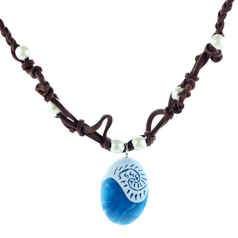 2017 Moana Ocean Rope Chain Necklaces Blue Stone Necklaces & Pendants Leather Suede Choker Necklace for women Girls jewelry(China (Mainland))
