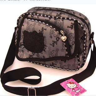 sanrio hello kitty Messenger shopping tote shoulder bag girl black sanrio adult and kid belt can adjustable(China (Mainland))