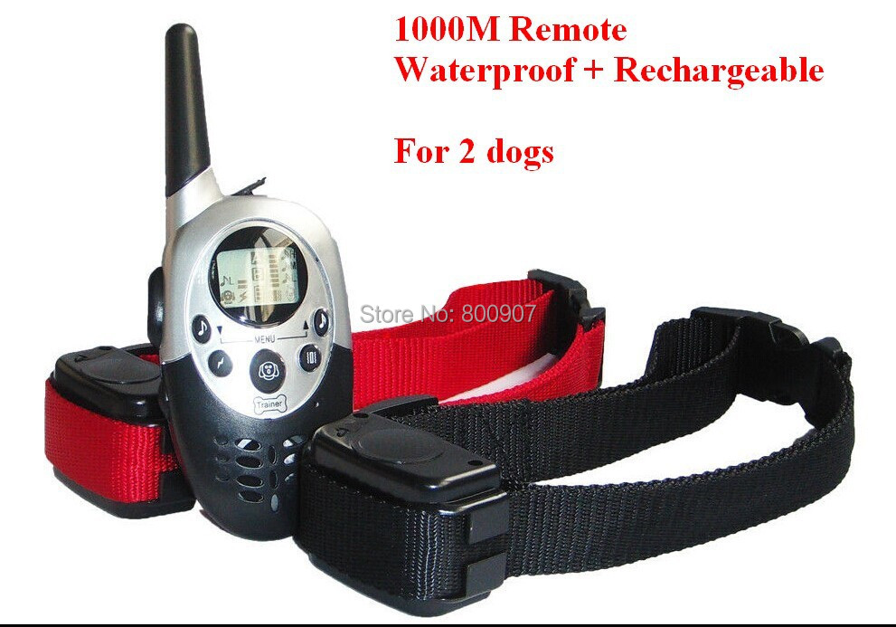 1000M Waterproof Rechargeable LCD Remote Pet Dog Training Collar Electric Shock Large Dog Control for 2 Dogs(China (Mainland))