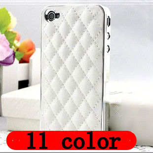 FREE SHIPPING 2013Luxury Designer  Mesh PU Leather phone Case For Apple iPhone 4S/4 Fashion Cell Phone Cover Shell