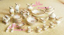 Dollhouse Miniature Vintage Porcelain Tea Dinner Set 40PCS()