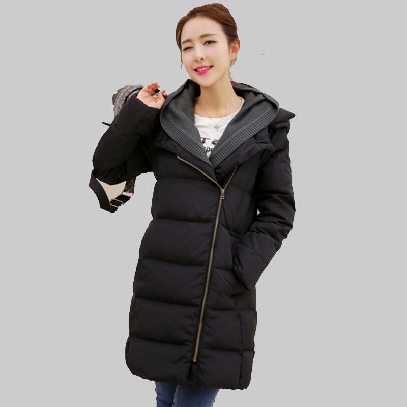 European 2015 New Black Beige Warm Long Winter Padded Jacket Ladies Long Sleeve Zipper Hooded Coats Loose Parkas Plus Size YB782