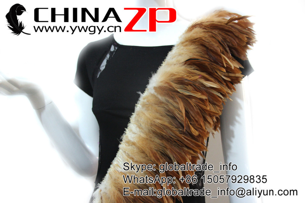 Natural Brown dyed wholesale strung cock feathers (8)