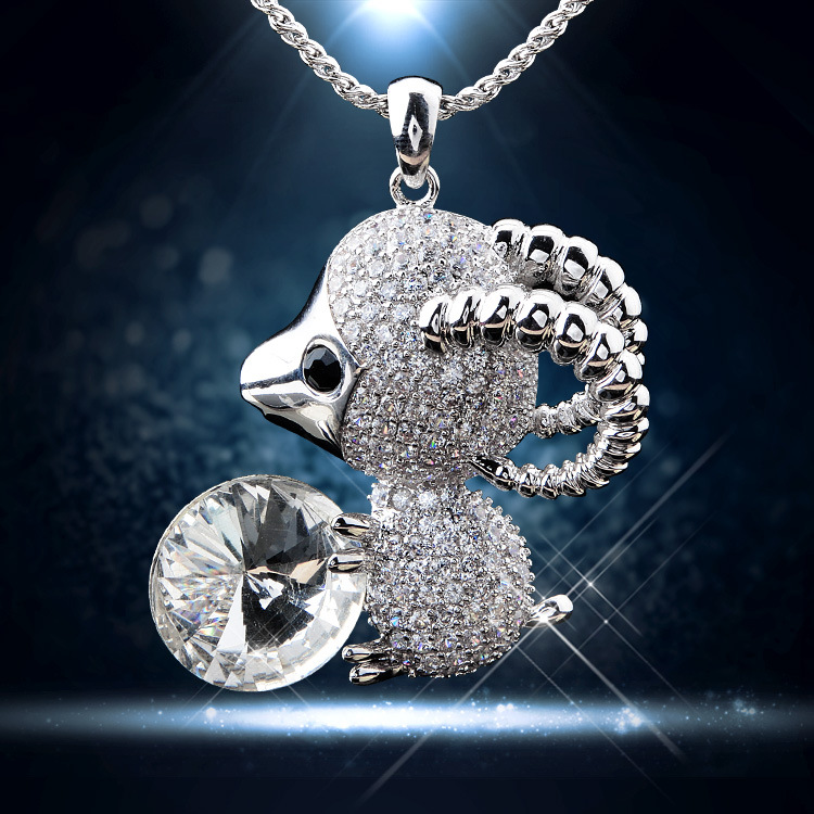 Little sheep zircon necklace chain of clavicle Platinum plating aaa zircon product marketing Brazil(China (Mainland))