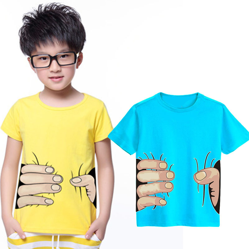 Summer Style Spoof Grab You Baby Girls Boys T Shirts Cotton 3D Print Big Hand T-Shirts Child Clothing Tops Infant Tee()