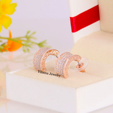 ENY33487 Hot sale Luxurious Micro Crystal Earrings Zinc Alloy 18K Rose gold platium Plated With Austria crystal Fashion Jewelry(China (Mainland))