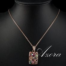 AZORA Gorgeous 18K Rose Gold Plated Multicolour Stellux Austrian Crystal Jewelry Pendant Necklace TN0083