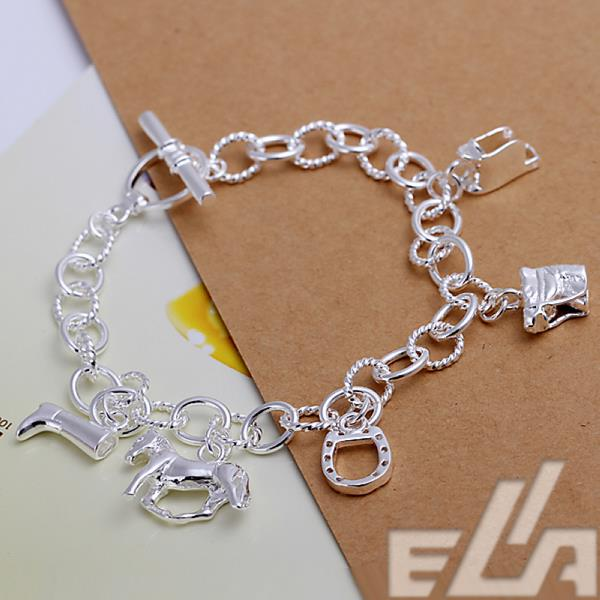 new arrival 2016 fashion jewelry shoes horse charm plated silver Bracelet for women wholesale(China (Mainland))