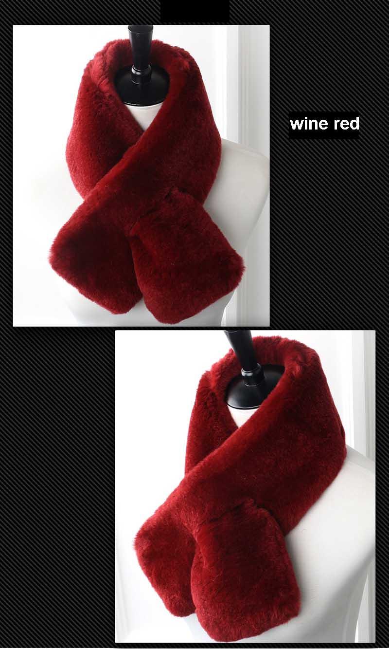 rex fur scarf wine red 1