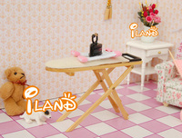 iland 1:12 Dollhouse Miniature Wooden Ironing Stand and Metal Iron  Free Shipping