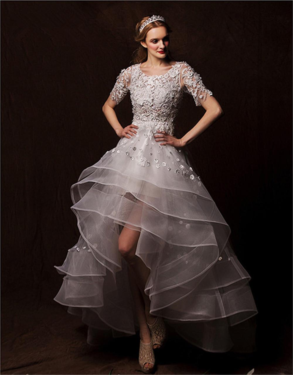 A line hi lo wedding dress scoop neck tulle bridal dresses for Hi lo wedding dress