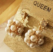 Min order $10 (mix order) Free Shipping New Fashion Gorgeous fine jewelry Gem Princess models Sphere earrings pearl R023 5g(China (Mainland))