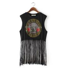 Women T Shirt Tassels European Style Basic Sleeveless Guns Roses Print O-neck High Quality In Stock GZH01(China (Mainland))