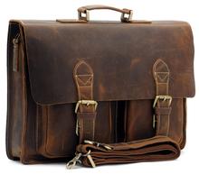 Top Grade Handmade Mens Real Leather Briefcase Vintage Style messenger Shoulder 14 inch Laptop Bag case handbag tote  B1061(China (Mainland))