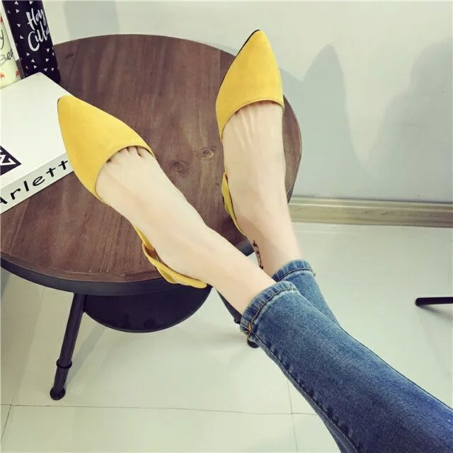 2016 spring shoes summer sandals flat heel fashion pointed toe shoes female flats hollow shoes <br><br>Aliexpress