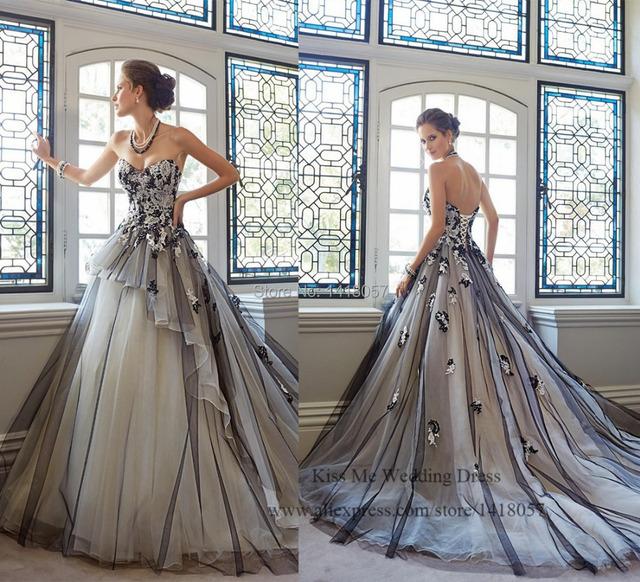 2015 горячая распродажа белый и черный свадебное платье кружева принцесса свадебное платье тюль корсета суд поезд одеяние де свадебная элегантный