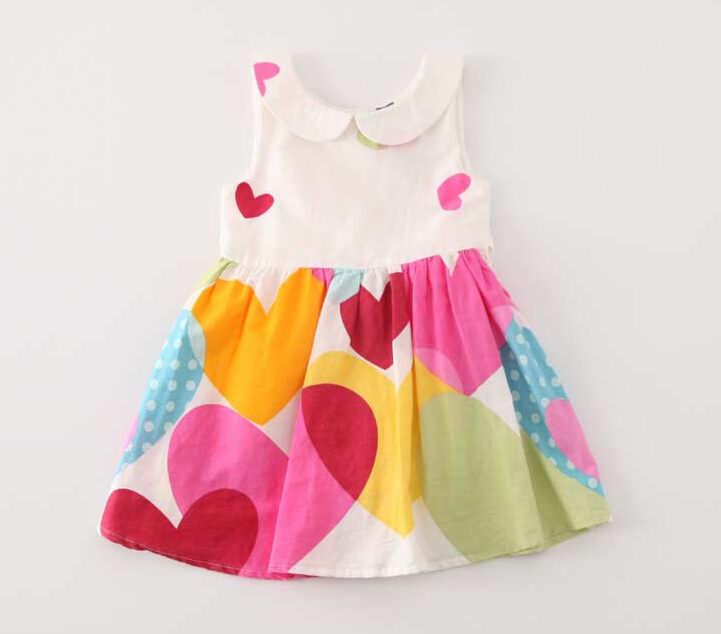 Toddler Girls Princess 2016 New Dresses Turn-down Collar Kids Summer Heart Pattern Cotton Clothing Baby Print Clothes 5pcs/LOT<br><br>Aliexpress