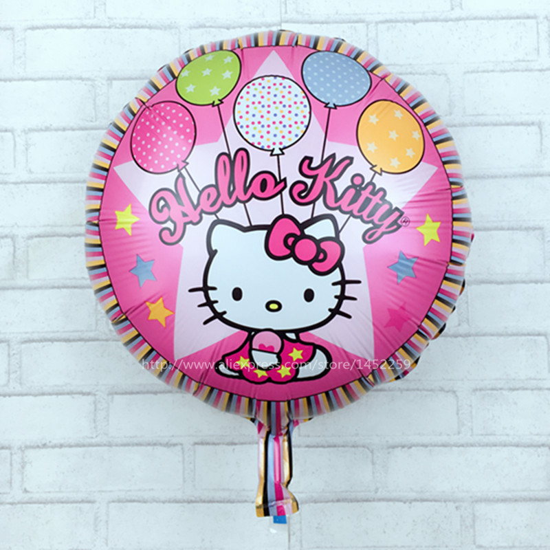 The new children's toys hello kitty birthday party decorations round foil balloons wholesale large KT cat(China (Mainland))