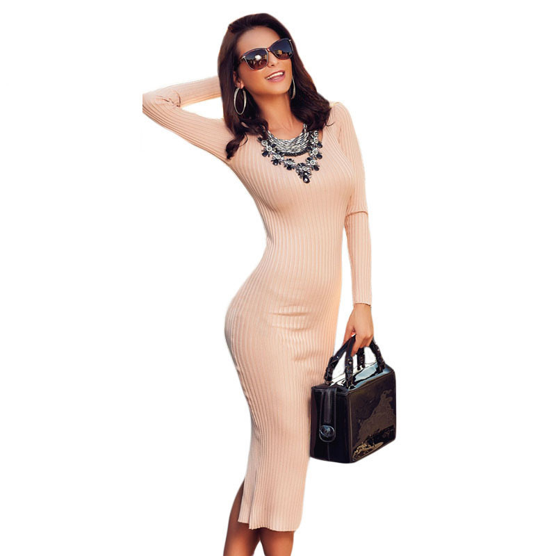 Love &amp; Beauty Hot 2016 Sweater Light pink Ribbed Women winter Bodycon Dress Long Sleeve Back Slit LC27613 vestido casualОдежда и ак�е��уары<br><br><br>Aliexpress