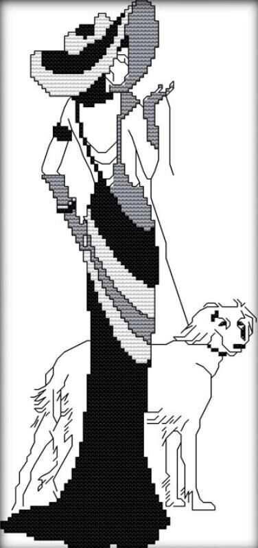 Beauty Lady leading a dog,2016 diy painting counted print on canvas similar DMC11CT Cross Stitch Embroidery kits Needlework(China (Mainland))